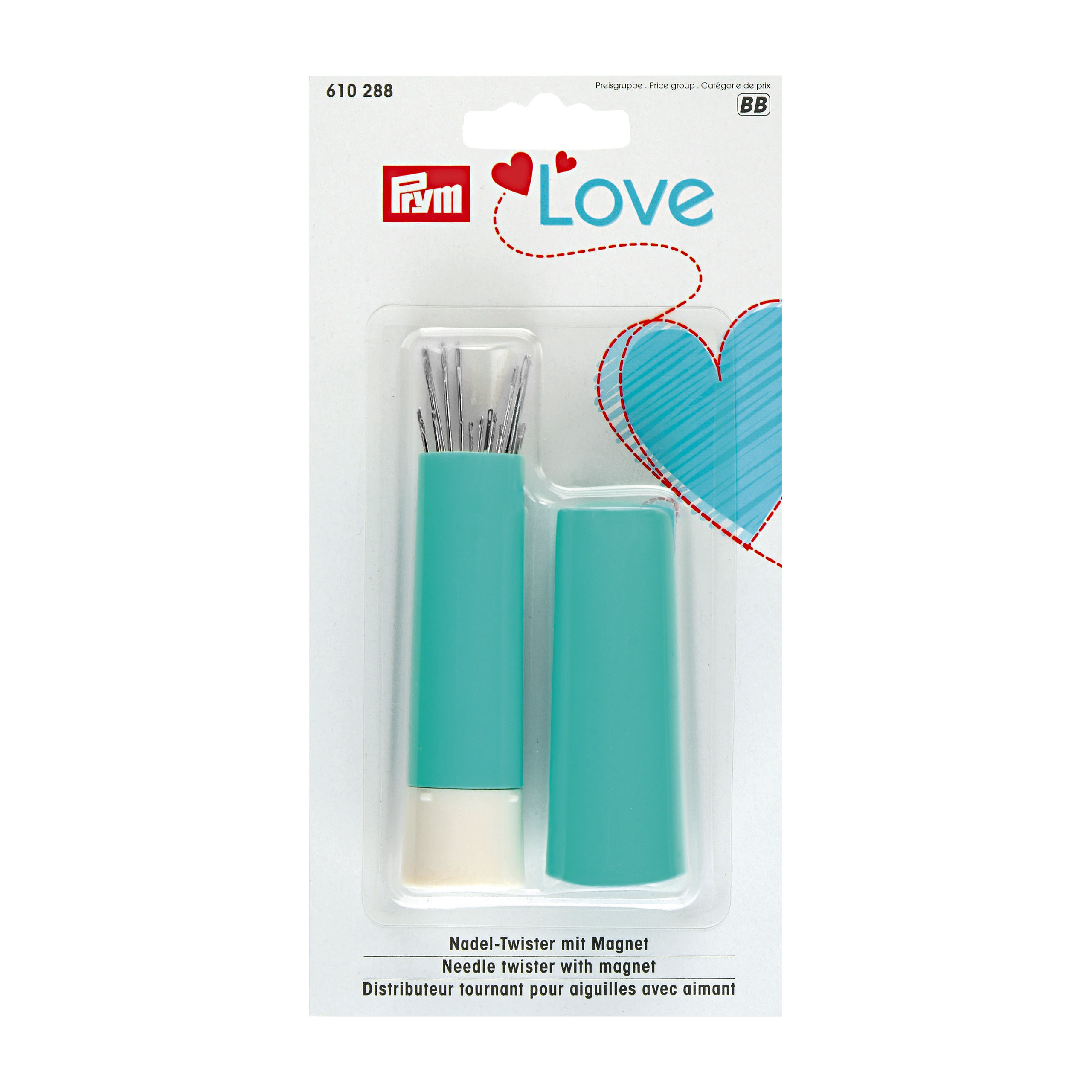 Prym Needle Twister, Prym Love, with sewing and darning needles