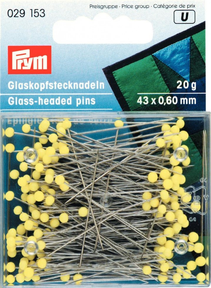 Glass-headed pins, 0.60 x 43mm, yellow, 20g