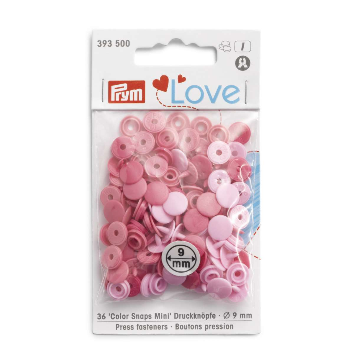 Prym Love Press fasteners Colour Snaps Mini, 9 mm, in shades of pink
