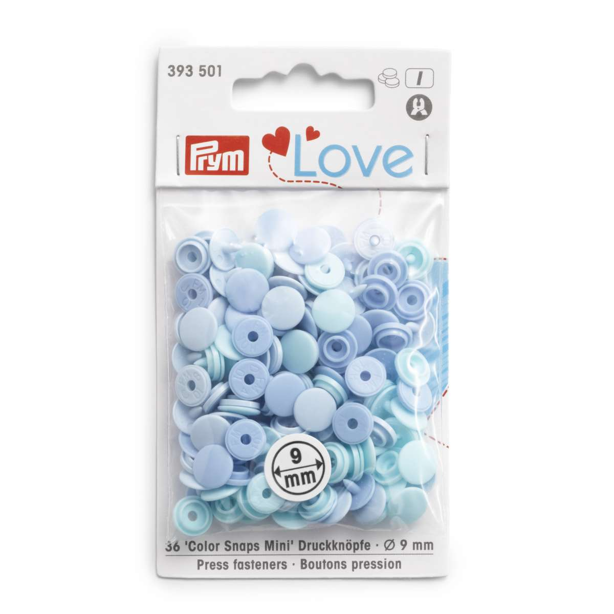 Prym Love Press fasteners Colour Snaps Mini, 9 mm, in shades of light blue