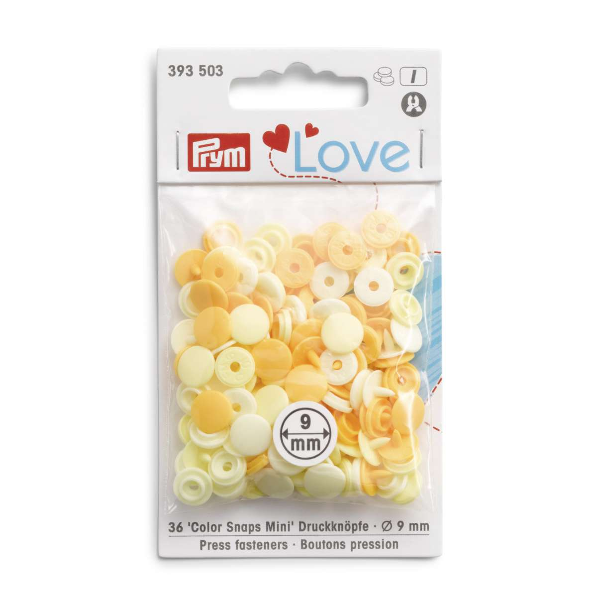 Prym Love Press fasteners Colour Snaps Mini, 9 mm, in shades of pale yellow