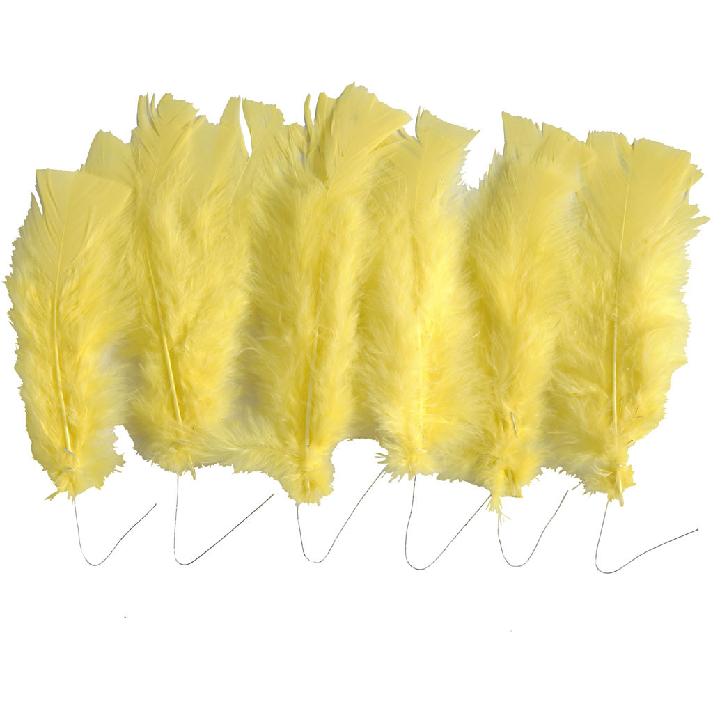 Feathers yellow with a steel wire, size 11-17 cm