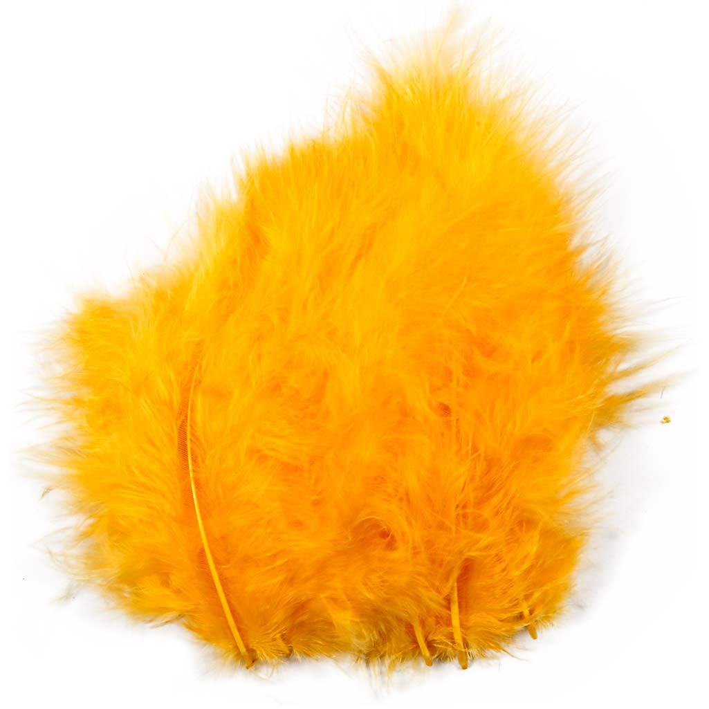 Feathers, size 5-12 cm, yellow