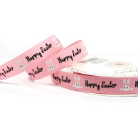 16mm Bertie's Bows Pink Polyester Grosgrain Ribbon Bunnies Happy Easter Print