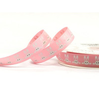 Bertie's Bows 16mm Pink Polyester Grosgrain Ribbon White Bunnies Print
