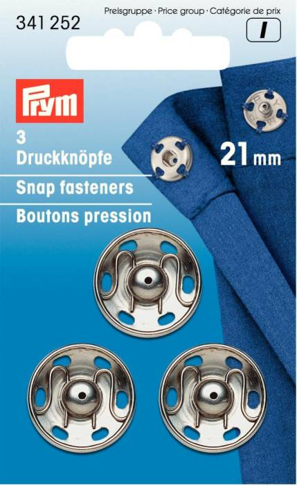 Prym Snap fasteners, 21mm, silver-coloured
