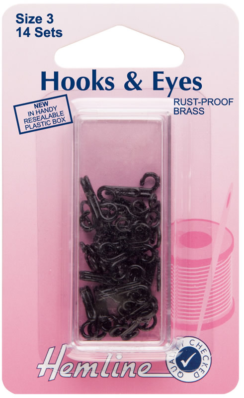 Hemline Hook & Eyes Size 3