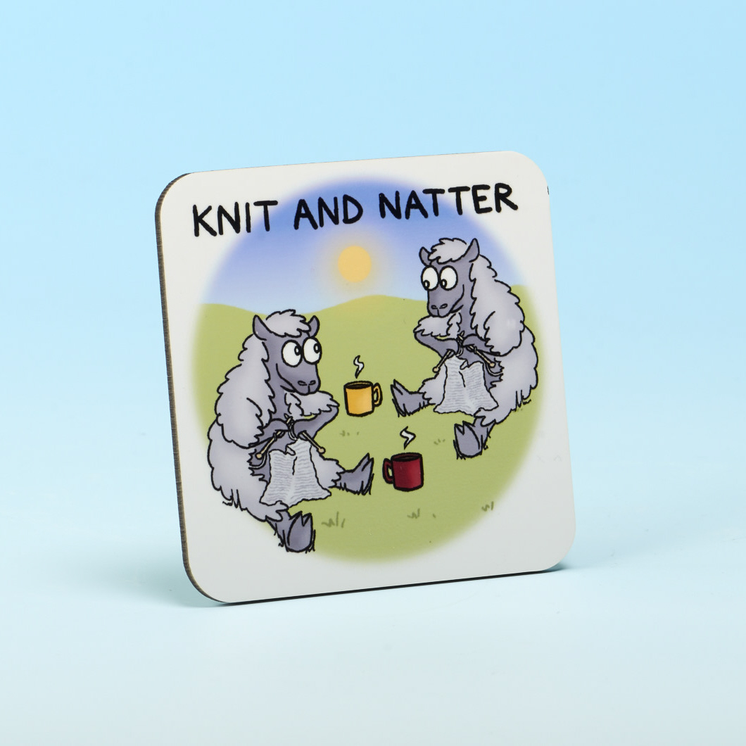 Vanessa Bee Designs Knit and Natter Coaster