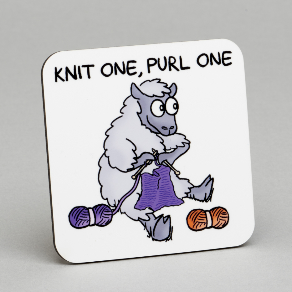 Vanessa Bee Designs Knit One Purl One Coaster