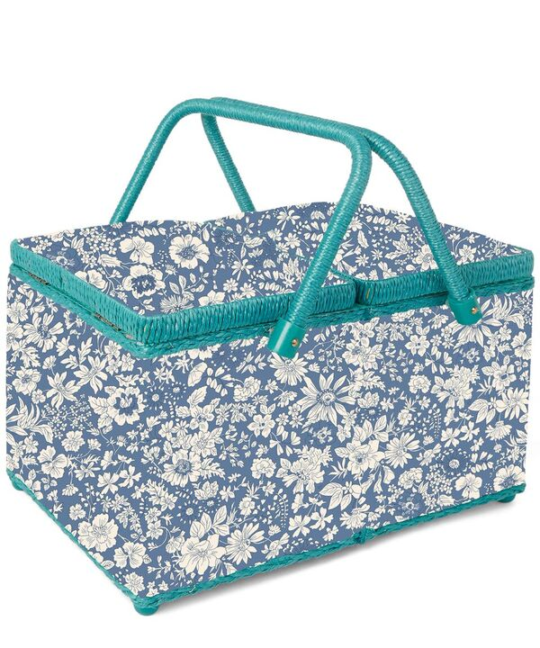 Liberty Large Sewing Box Blue Emily Silhouette