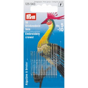 Prym Embroidery Crewel needles 5-10 with gold eye