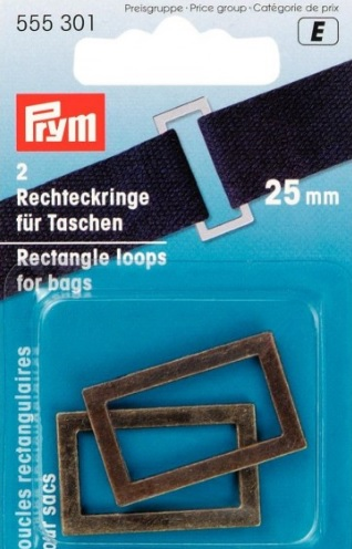 Prym 25mm antique brass coloured rectangle loops