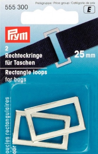 Prym 25mm silver coloured rectangle loops