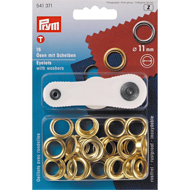 Prym Eyelets and washers, 11.0mm, gold-coloured